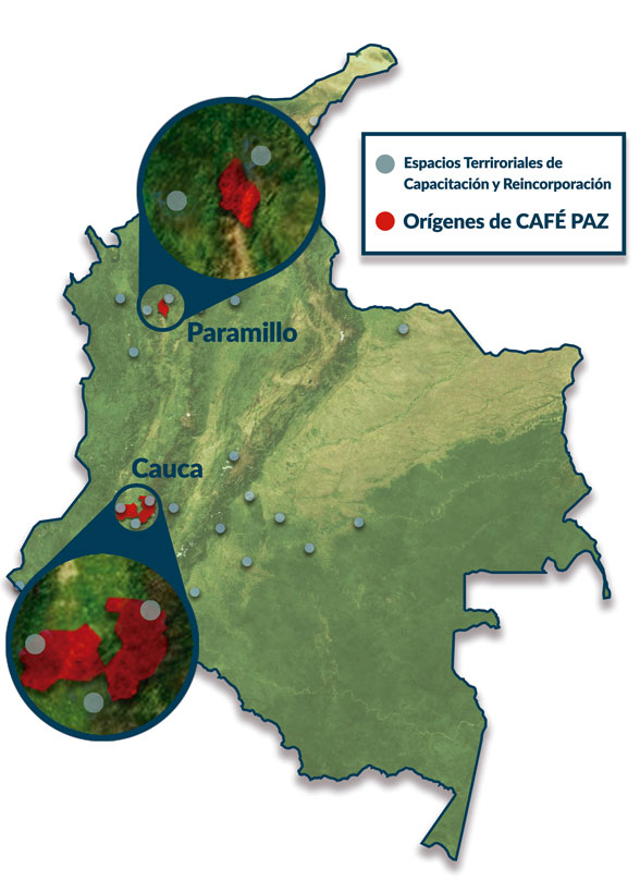 Map of Colombian Coffee